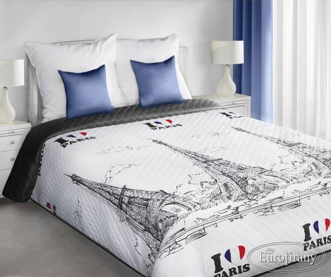 Narzuta Na łóżko 200x220 Holly Paris Biało Czarna Wieża Eiffla