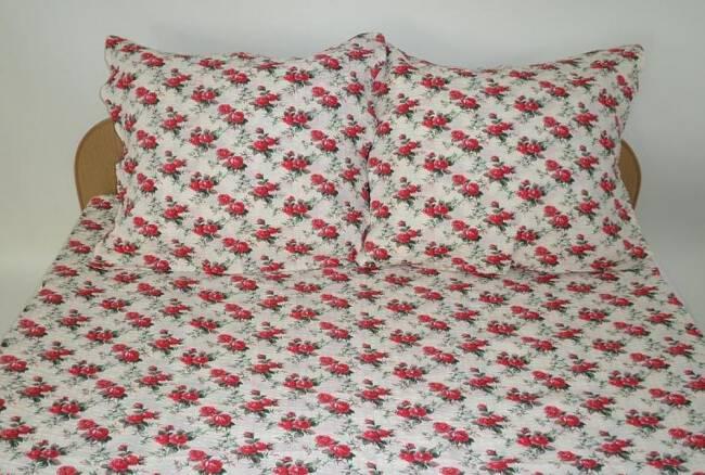 Pościel Z Kory 200x220 Wzór 1721 Drobne Różyczki Czerwone Na Guziki