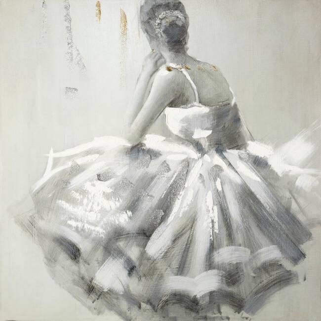 Groovy Obraz Balet 10 60x60 ręcznie malowany baletnica w białej sukni ER55