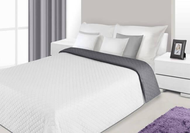 Modne ubrania Narzuta na łóżko 230x260 Alex 15 biała stalowa dwukolorowa Eurofirany IL63