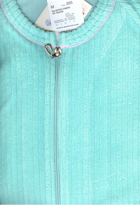 7bdd5b97dfa8e9 Szlafrok damski frotte krótki na zamek 265 M zielony. Ostatnia sztuka.  Niska cena!!!
