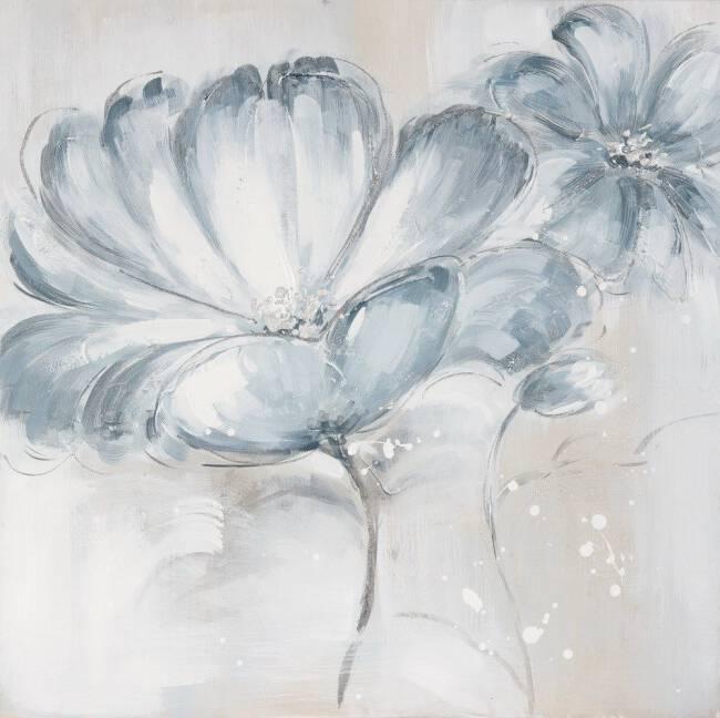 Nowość Obraz Fairy 1 60x60 ręcznie malowany niebieskie kwiaty Eurofirany CH38