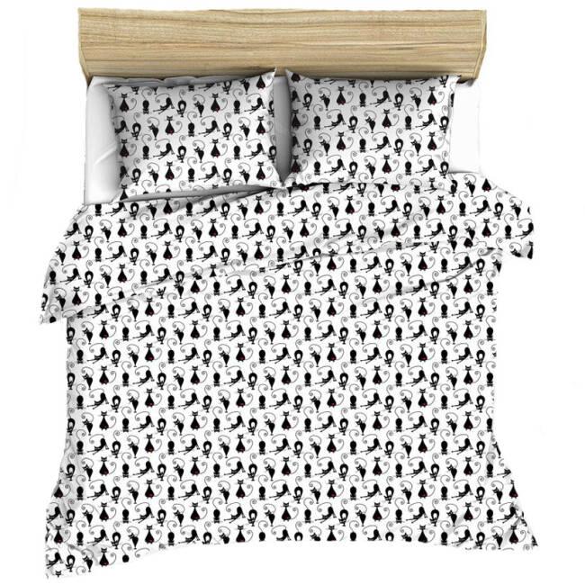 Pościel Bawełniana 180x200 998e Koty Kotki Czarne