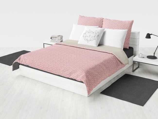 Narzuta Na łóżko 200x220 Atlanta Kremowa Różowa Dwustronna Pikowana