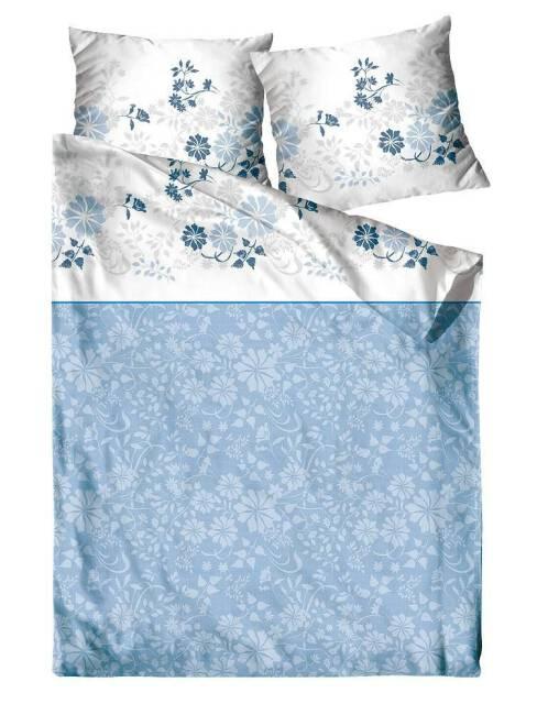 52525ea504bf6d Pościel satynowa 220x200 kwiatki biała niebieska Villa Como Greno