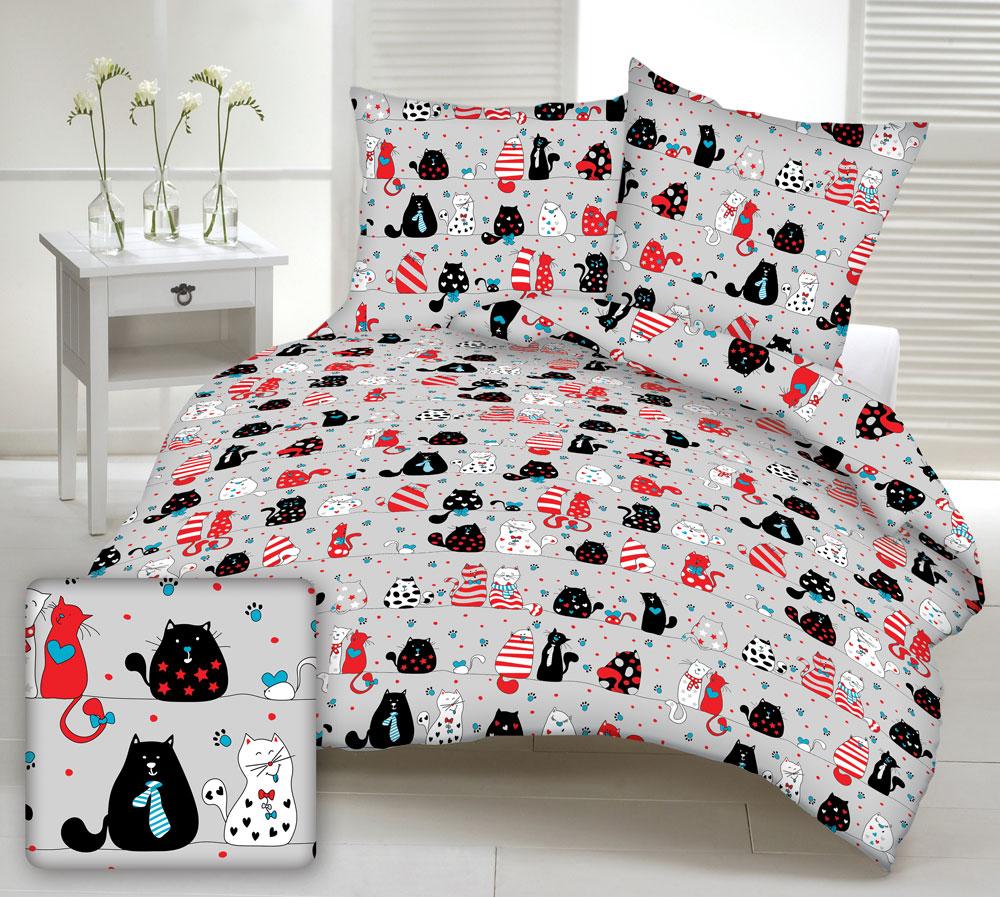 99c37f43d557e2 Pościel bawełniana 180x200 1528E szara koty czerwone białe czarne szare  myszki serca krawaty niebieskie