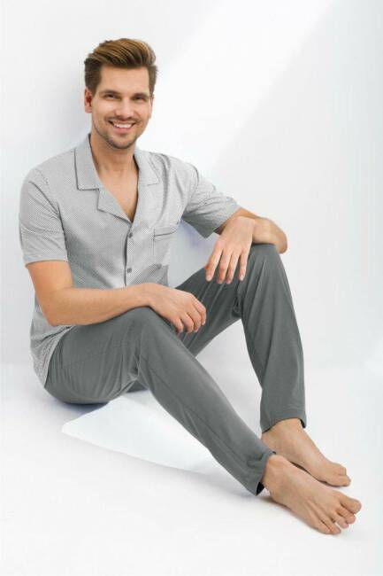 c00f624a019fc8 Piżama męska rozpinana 770 XL szara krótki rękaw długie spodnie Luna