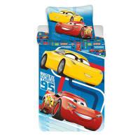 47e114e17a2229 Pościel bawełniana 140x200 Cars Auta 5759 Zyzgzak McQueen niebieska  poszewka 70x90