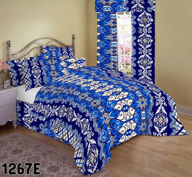 374d50f4533846 Pościel bawełniana 160x200 1267E biała niebieska szafirowa witraż ornamenty