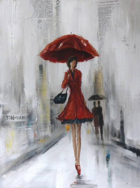 Chłodny Obraz Lady 1 70x100 ręcznie malowany kobieta z czerwonym parasolem OO34