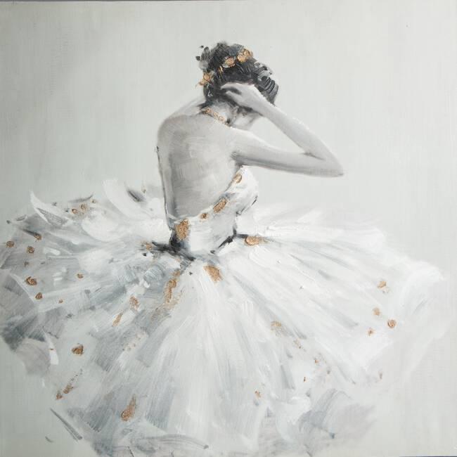 Bardzo dobry Obraz Ewodia 1 60x60 ręcznie malowany baletnica na płótnie Eurofirany KC16